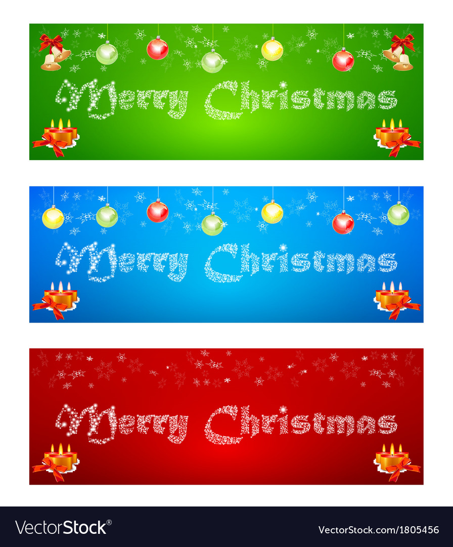 Merry christmas banner on different backgrounds vector