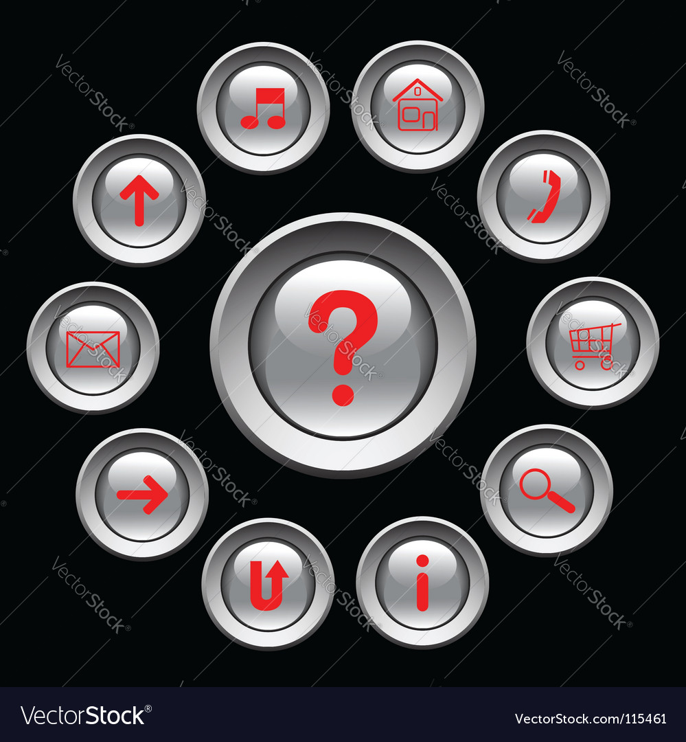 Glossy buttons with red symbols vector
