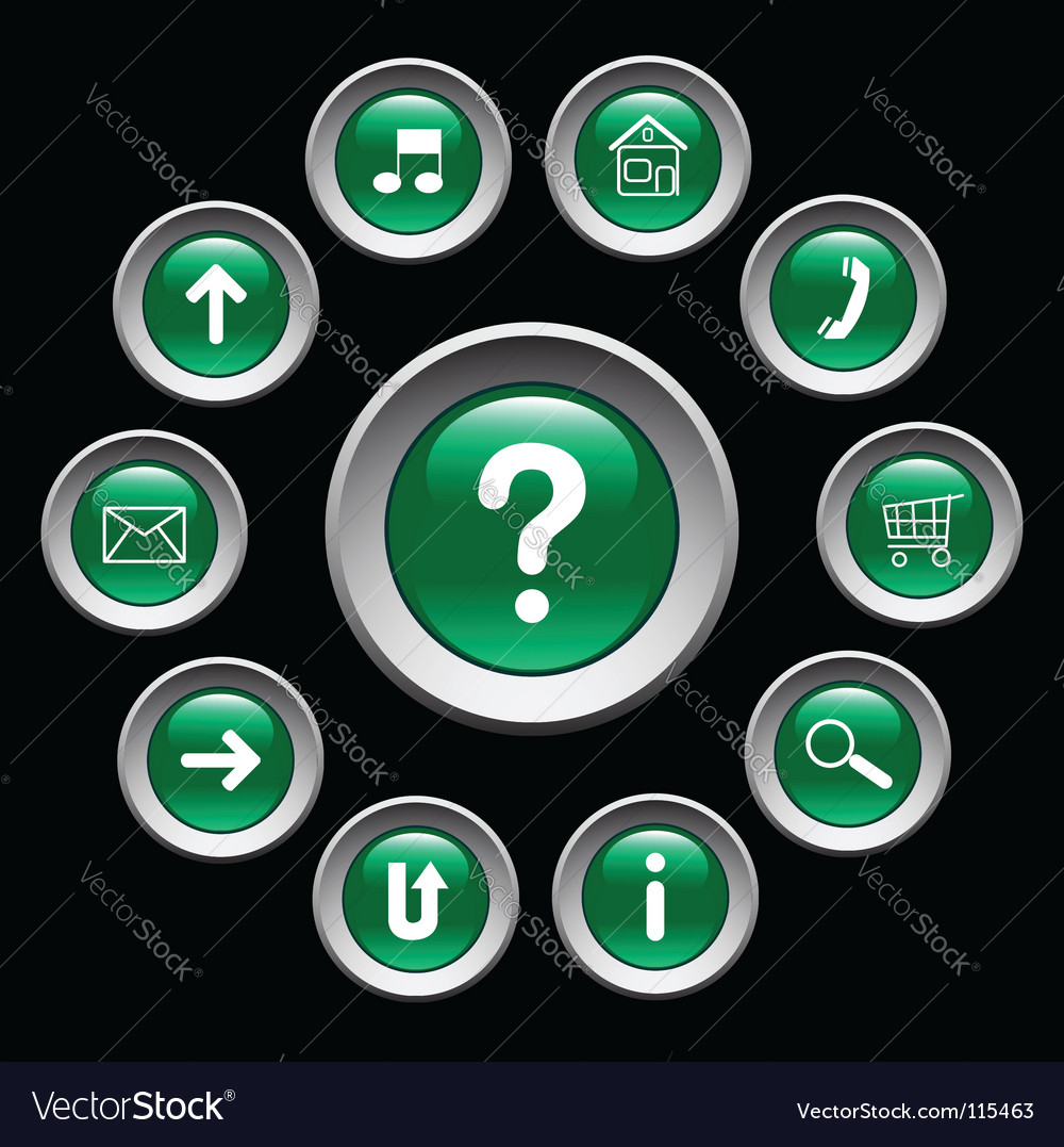 Glossy green buttons with symbols vector