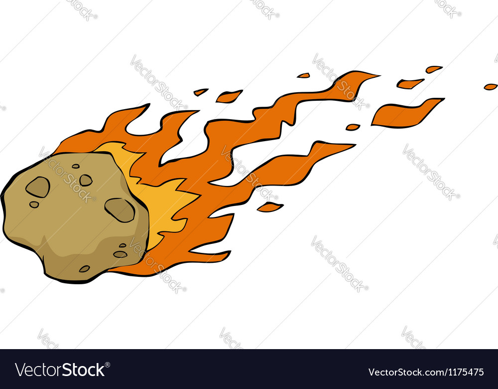 Meteorite on fire vector
