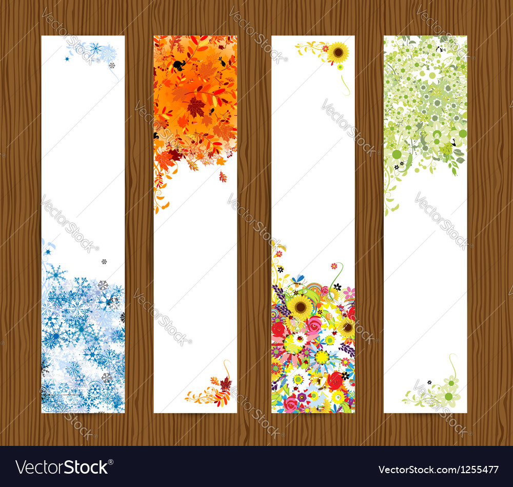 Four seasons  spring summer autumn winter banners vector