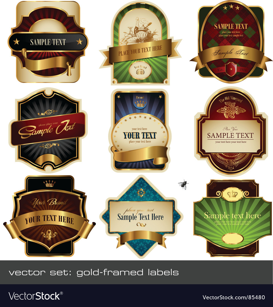 Gold framed labels vector