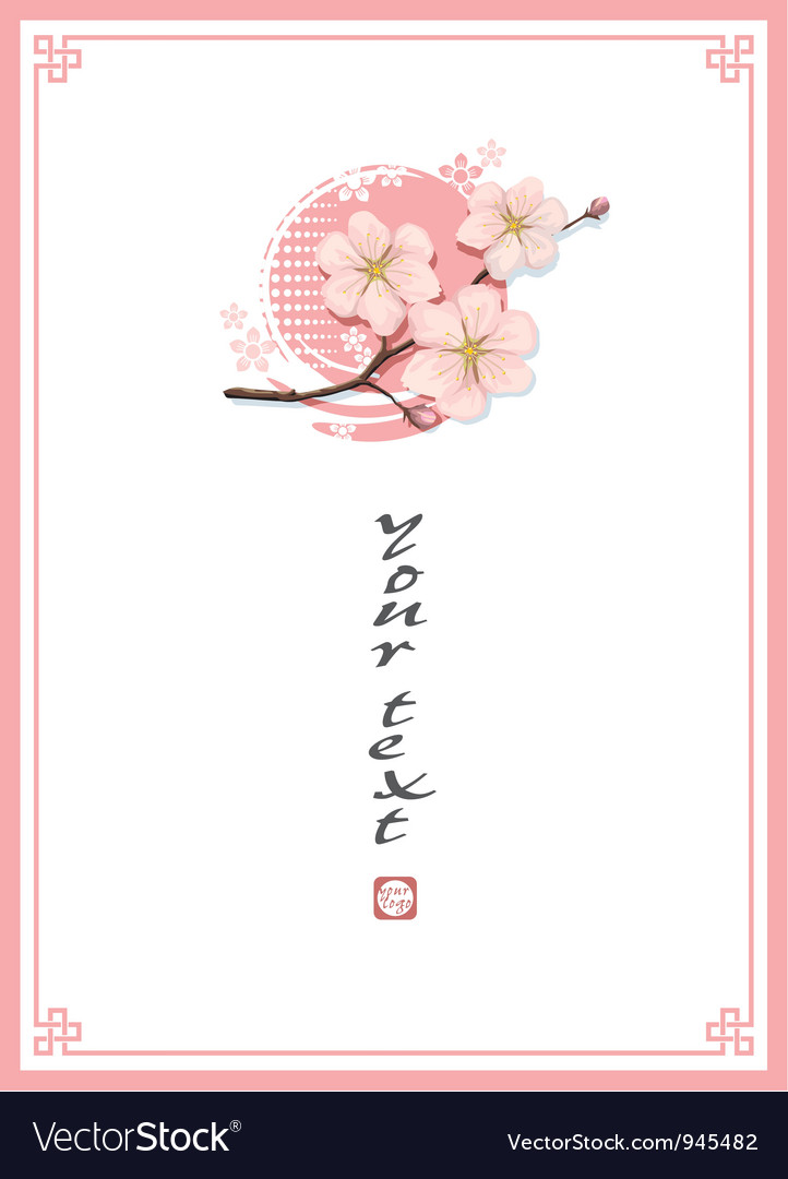 Oriental cherry template background vector