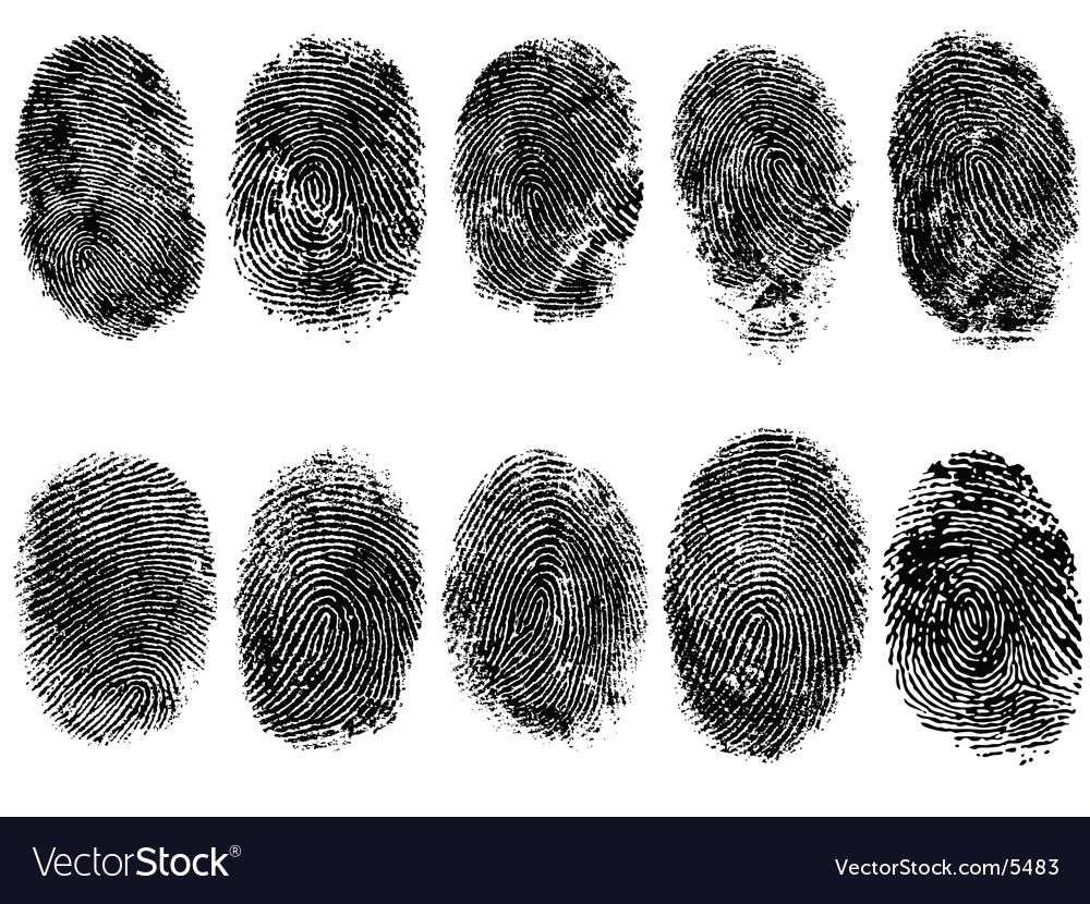 10 fingerprints vector
