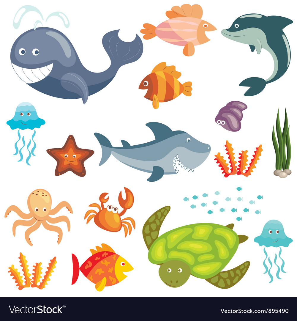 Marine animals set vector