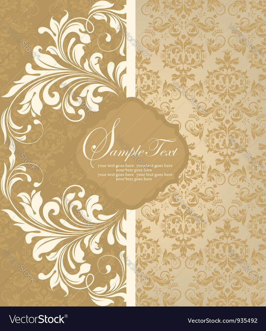 Floral damask invitation card vector