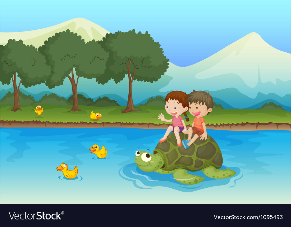Kids on tortoise vector