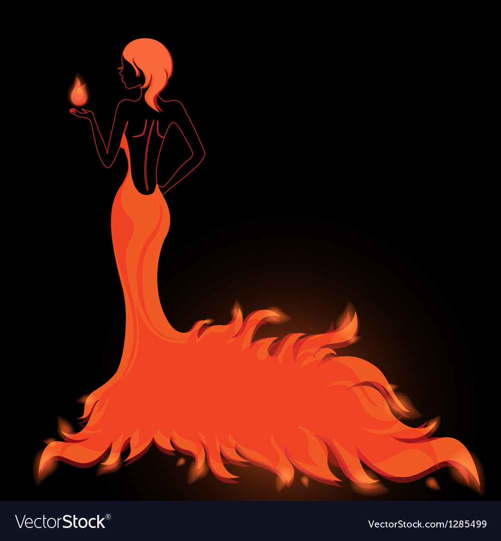 Girl in a fiery dress vector