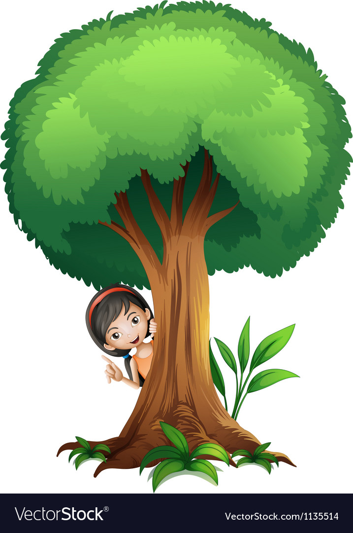 A girl and a tree vector