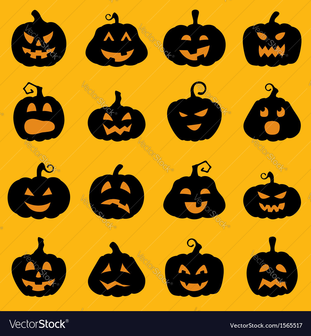Halloween decoration jack o lantern silhouette set vector