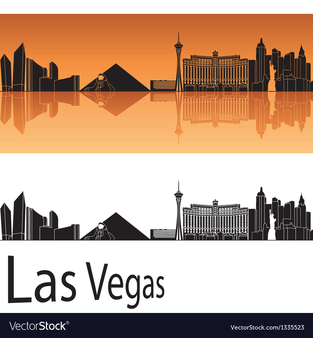 Las vegas skyline in orange background vector