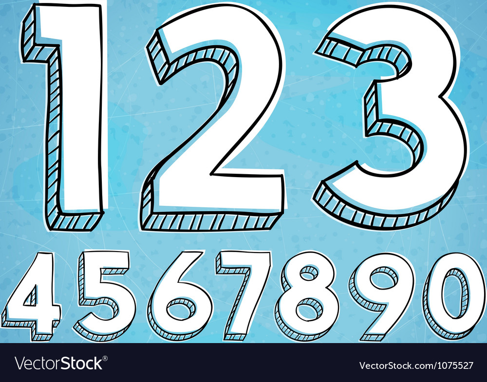 Doodle style hand drawn digits vector