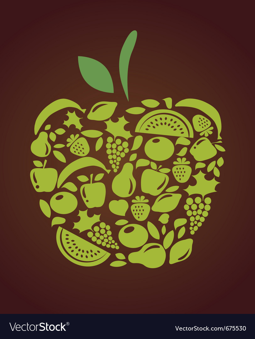 Apple with fruits and vegetables pattern vector