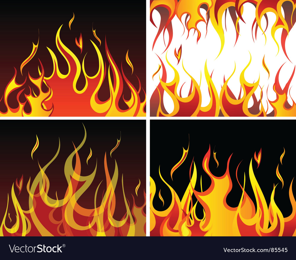 Fire backgrounds set vector