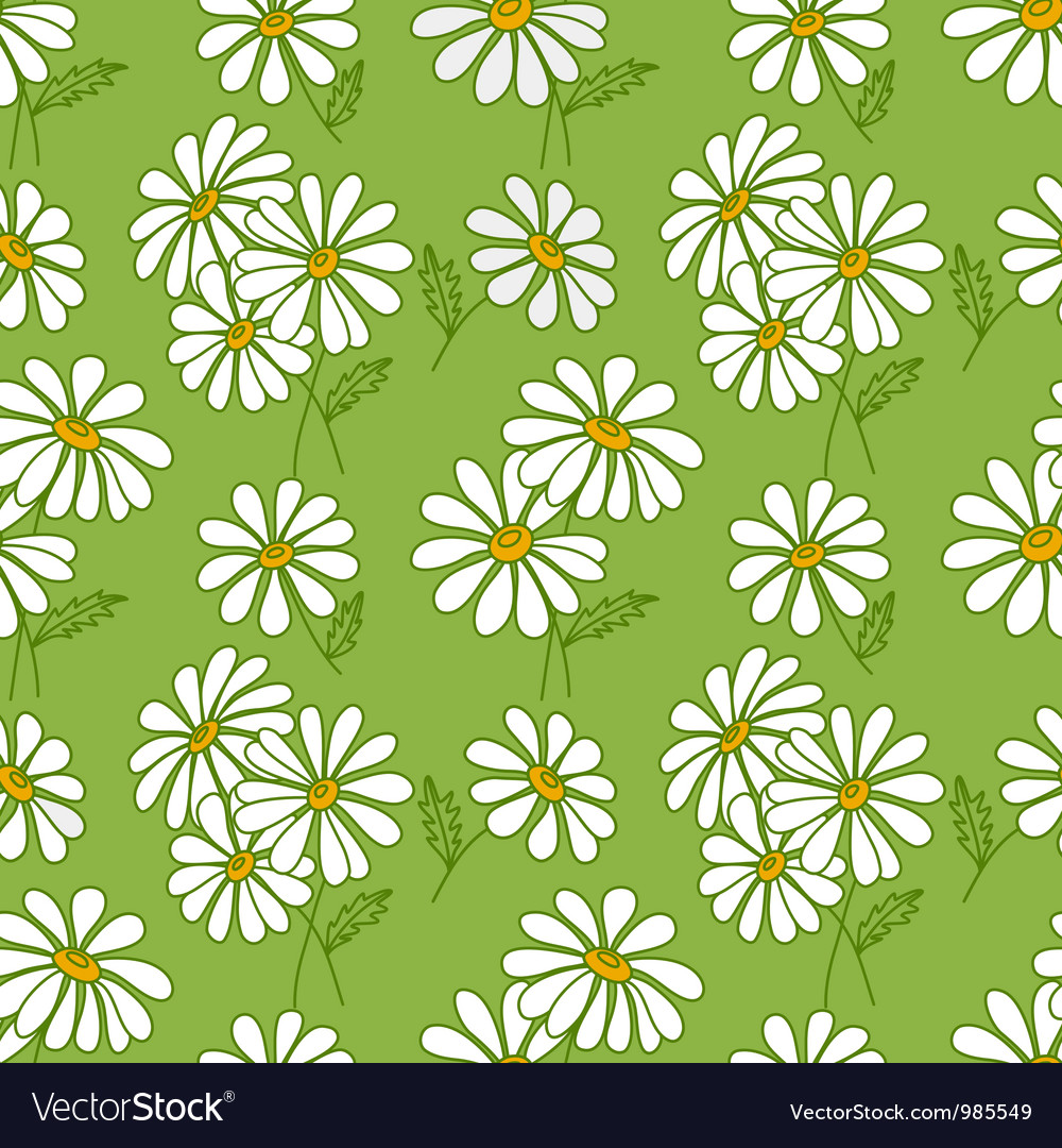 Green seamless daisy pattern vector