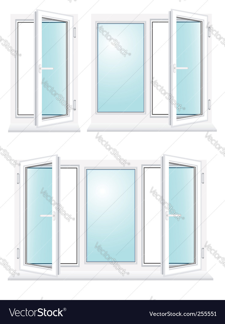 Open plastic glass window vector