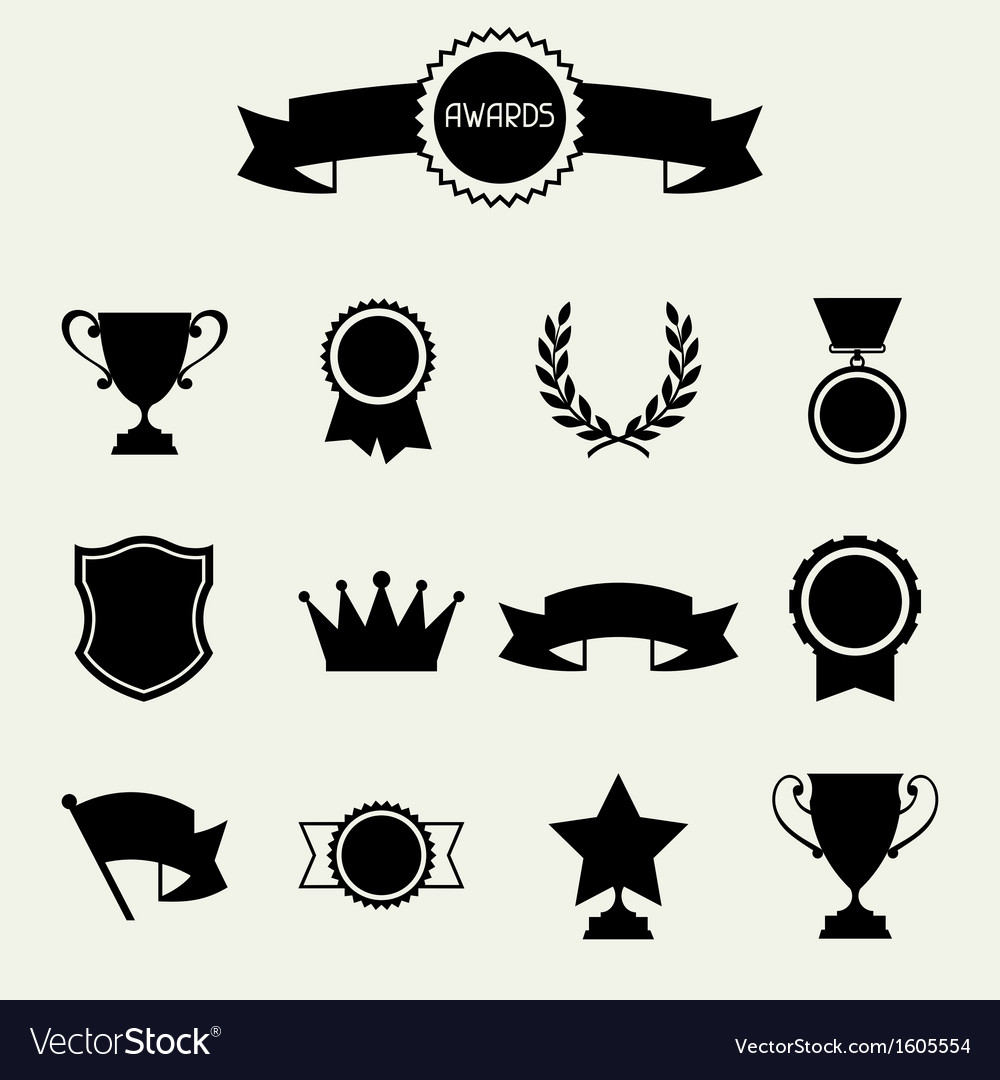 Trophy and awards icons set vector