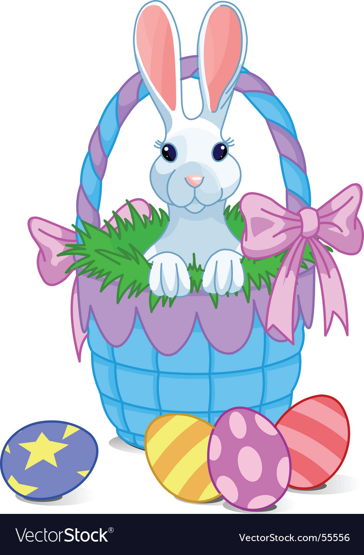 Basket bunny vector
