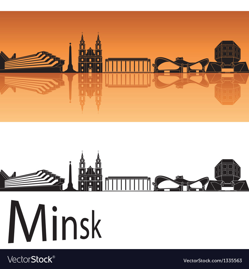 Minsk skyline in orange background vector