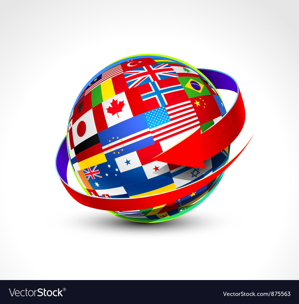 World flags sphere vector