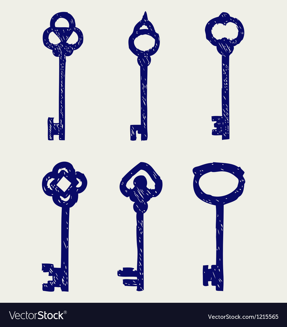 Antique keys collection vector