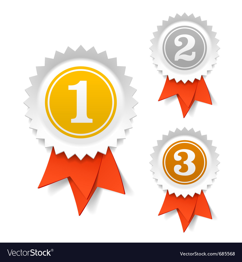 Gold silver and bronze award ribbons vector