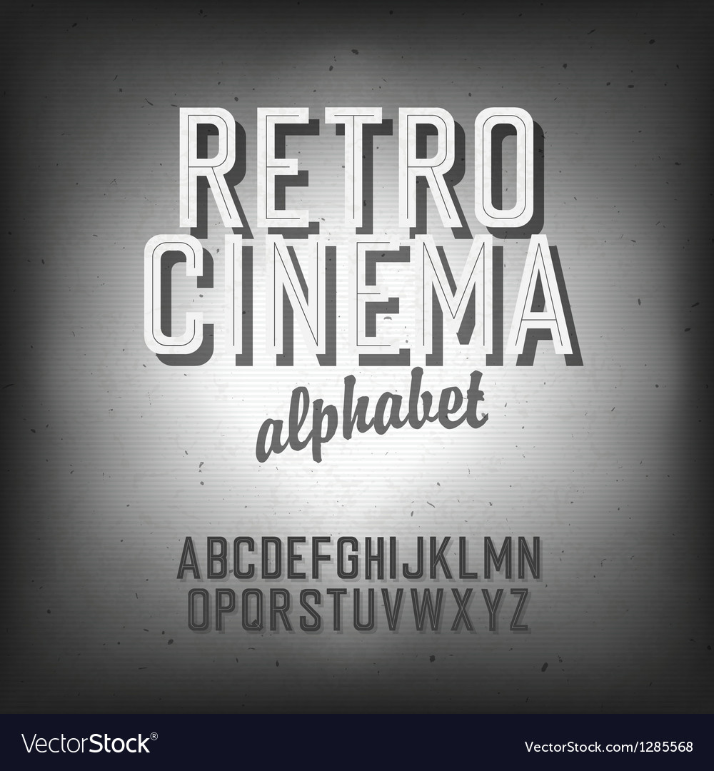 Retro cinema font vector
