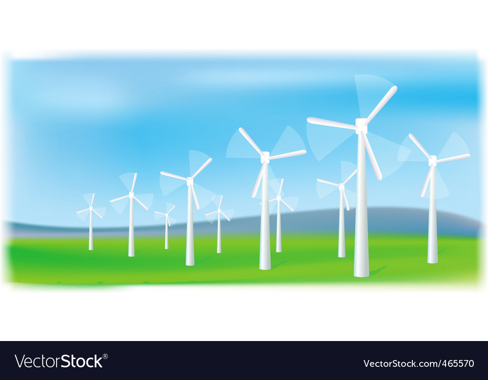 Wind turbines farm vector