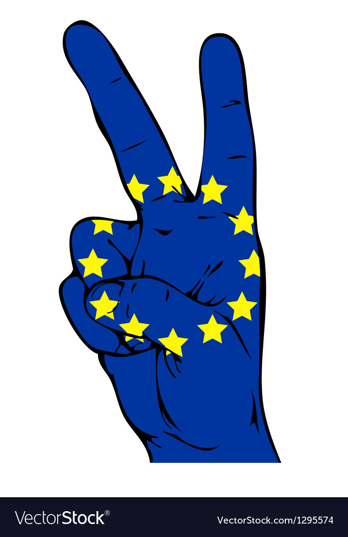 Peace sign of the flag of the european union vector