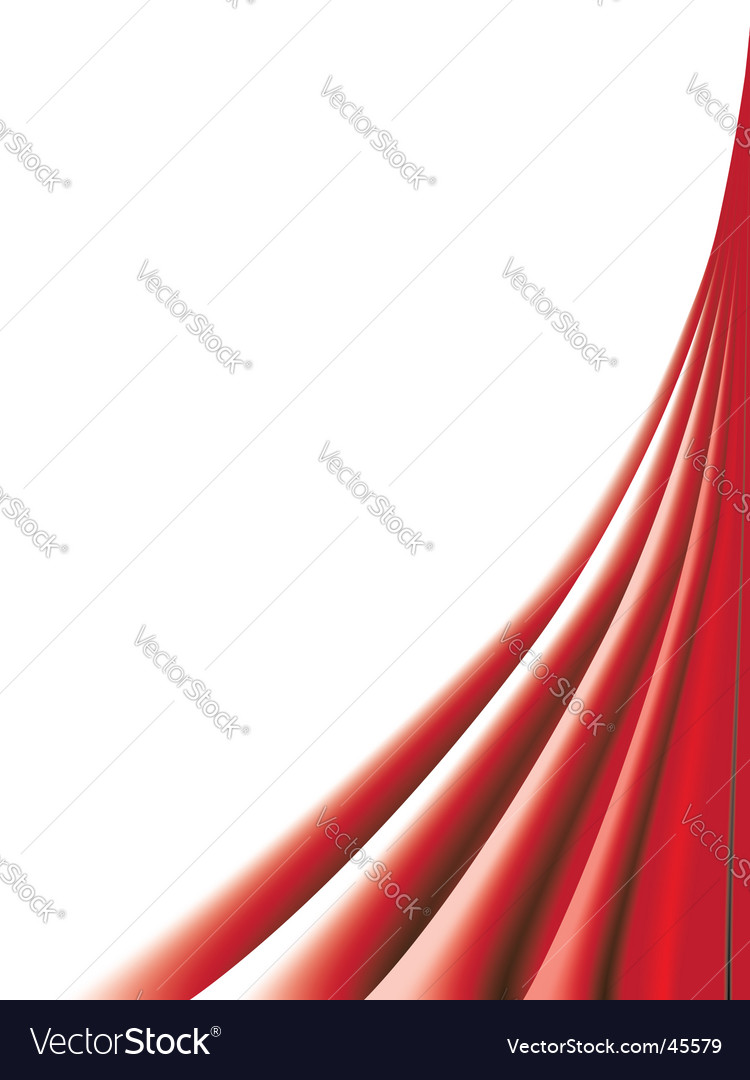 Red curtains on white background vector