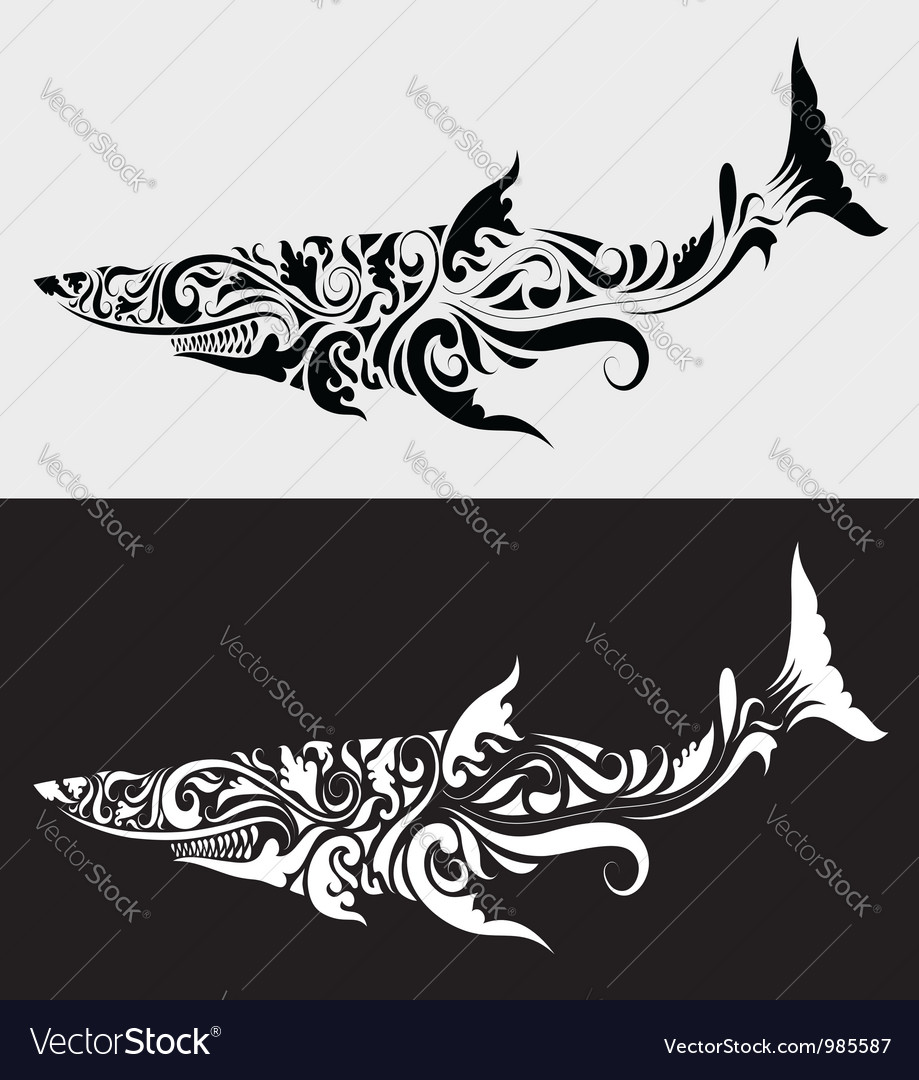 Shark ornament vector