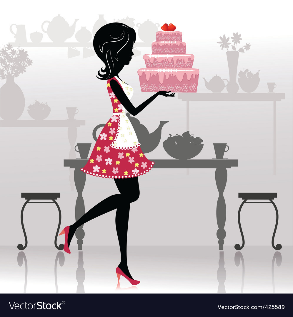 Romantic cake vector