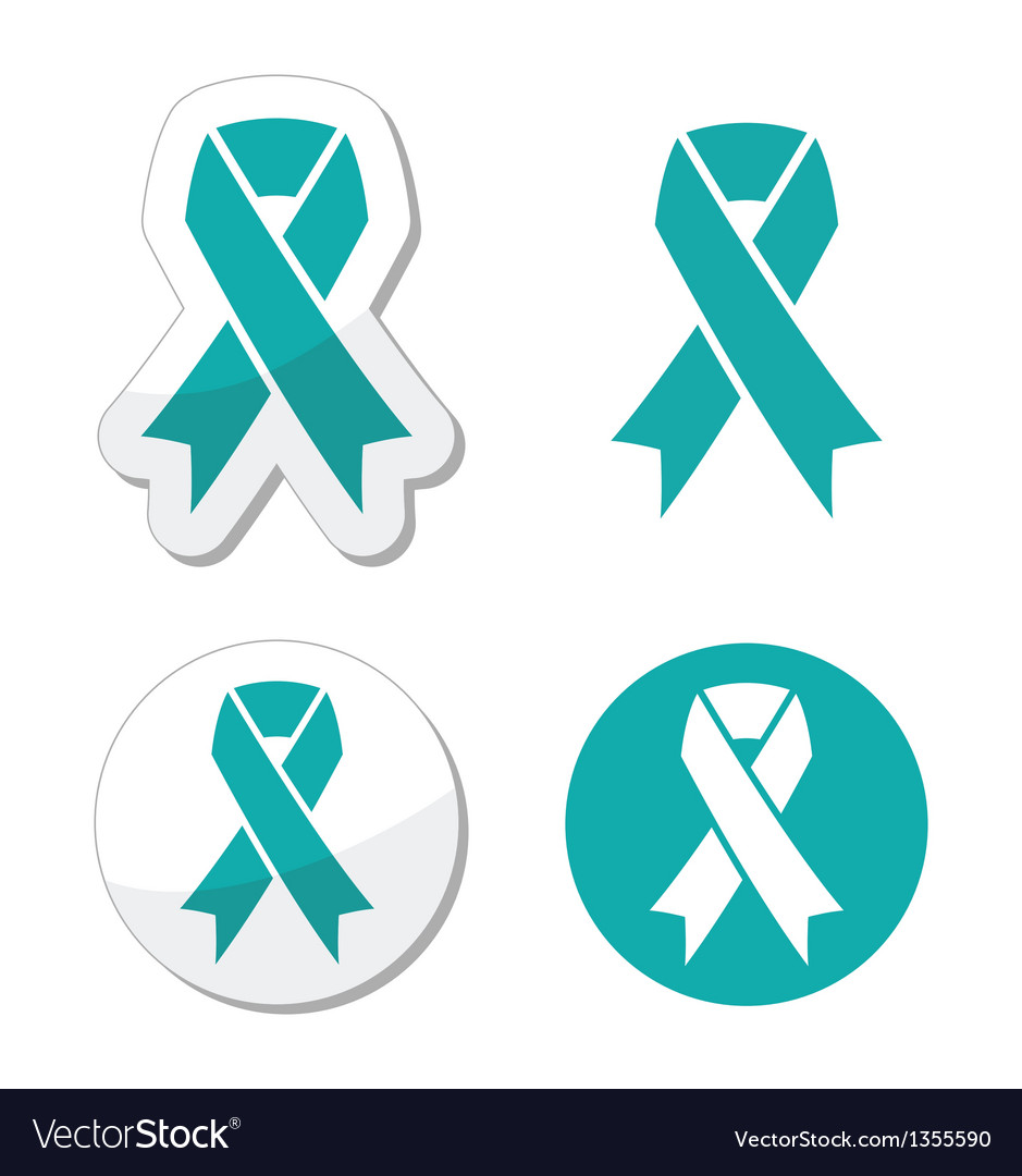 Teal ribbon  ovarian cervical uterine cancer vector