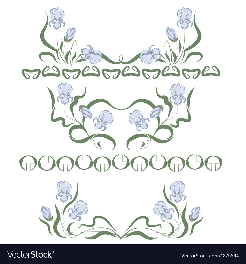 Vignette with blue irises vector