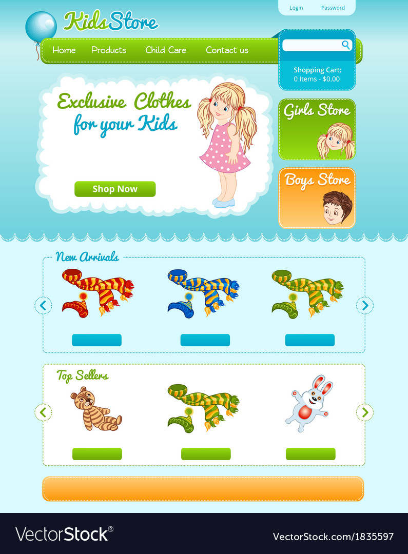 Web template for kid shop vector