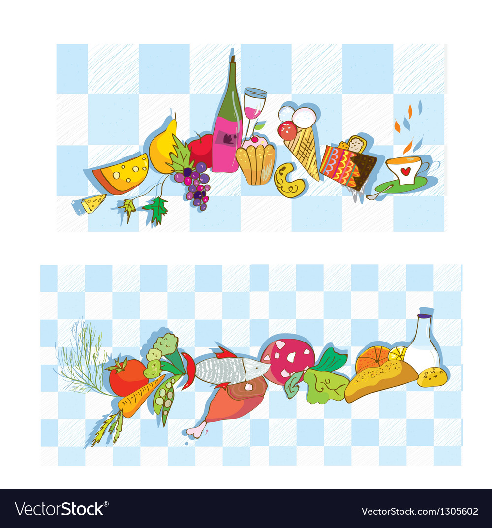 Food banners for restaurant and cafe vector