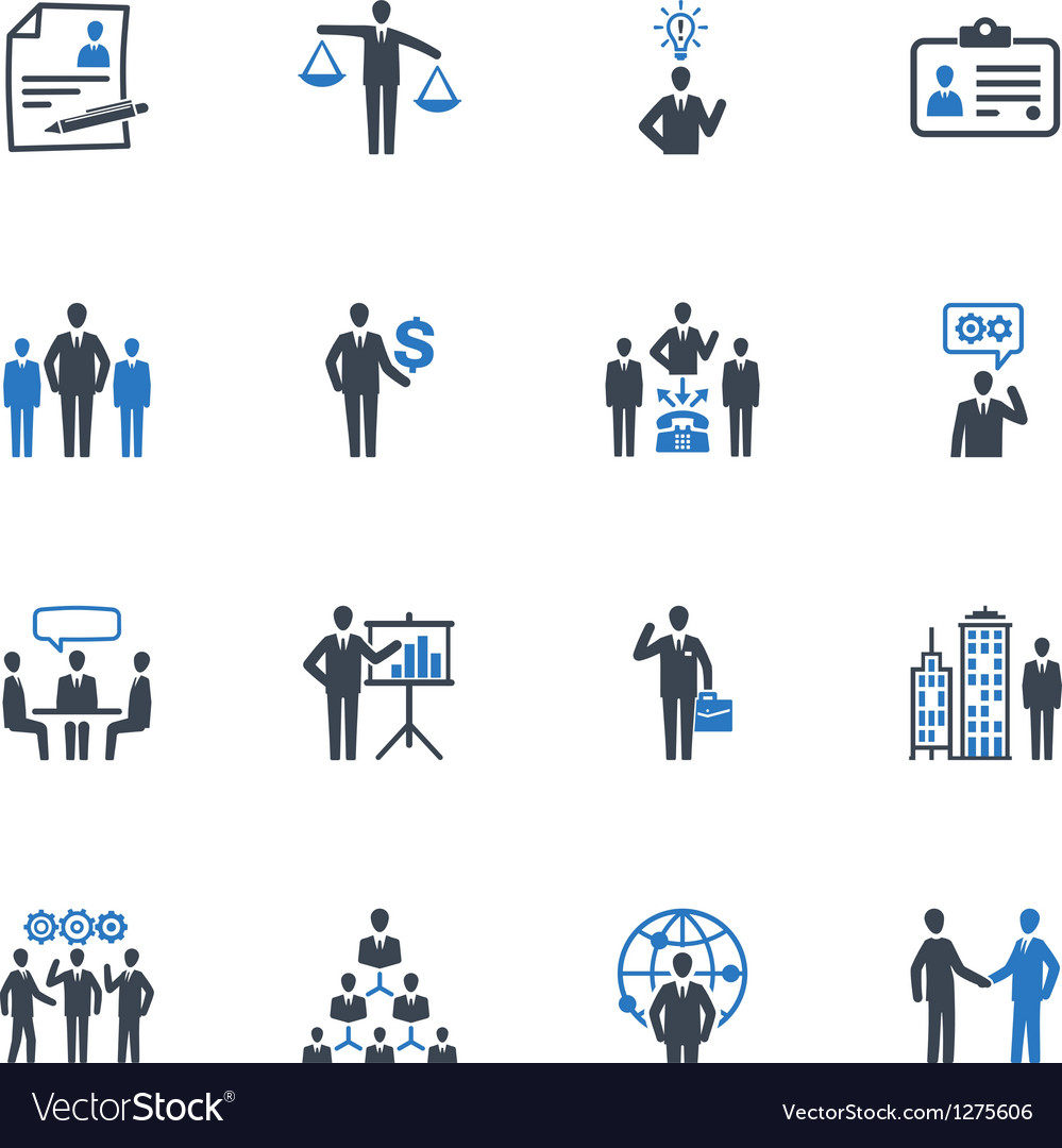 Management and human resource icons  blue series vector