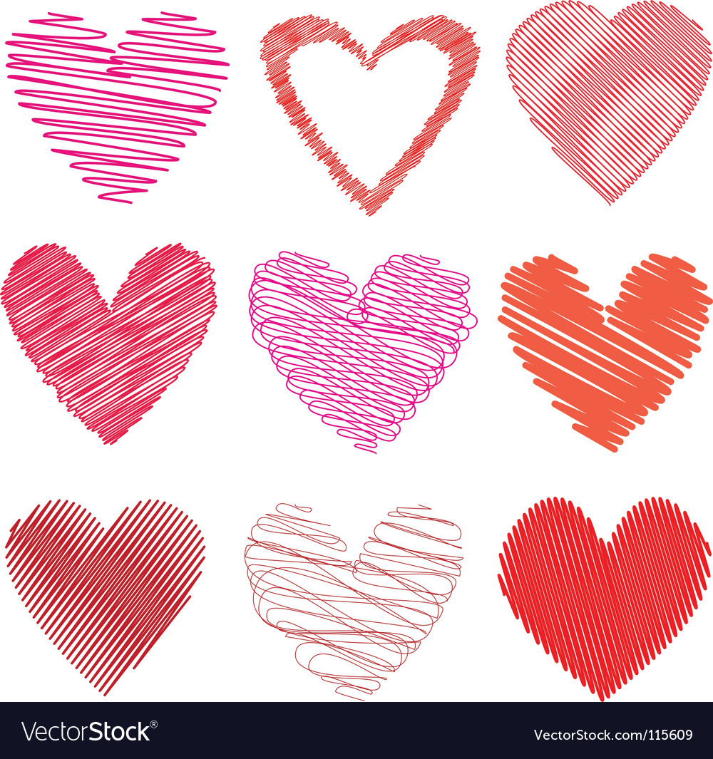 Scribbled hearts vector
