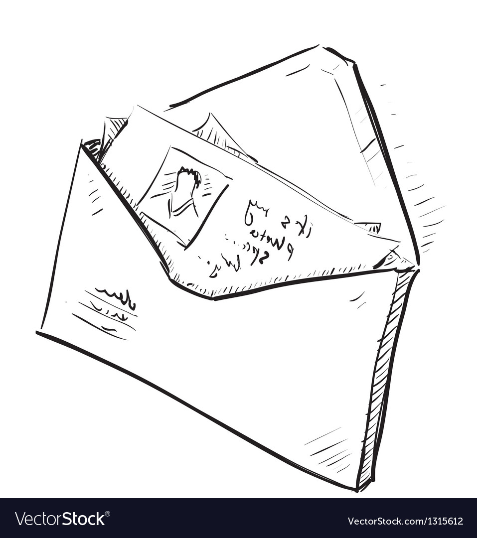Letter and photos in envelope cartoon icon vector by chuhail image