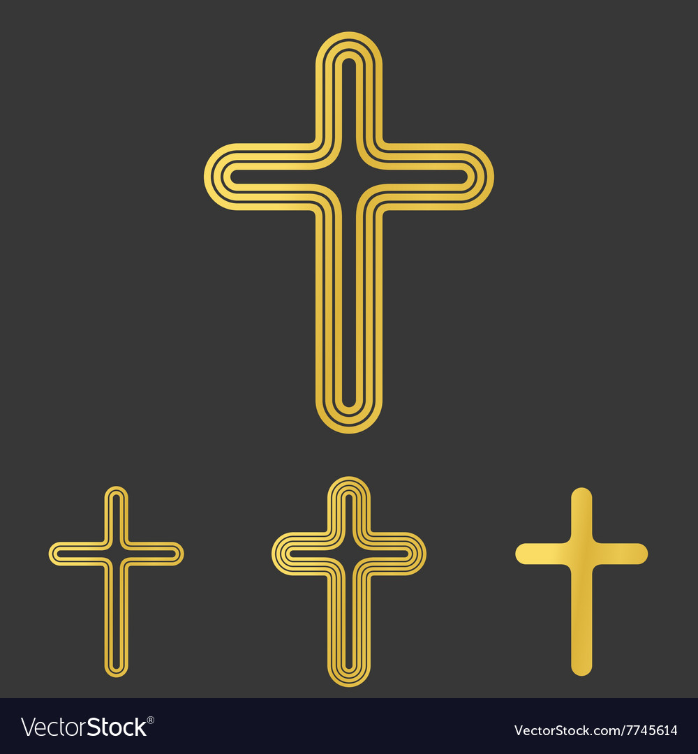 Golden line cross logo design set