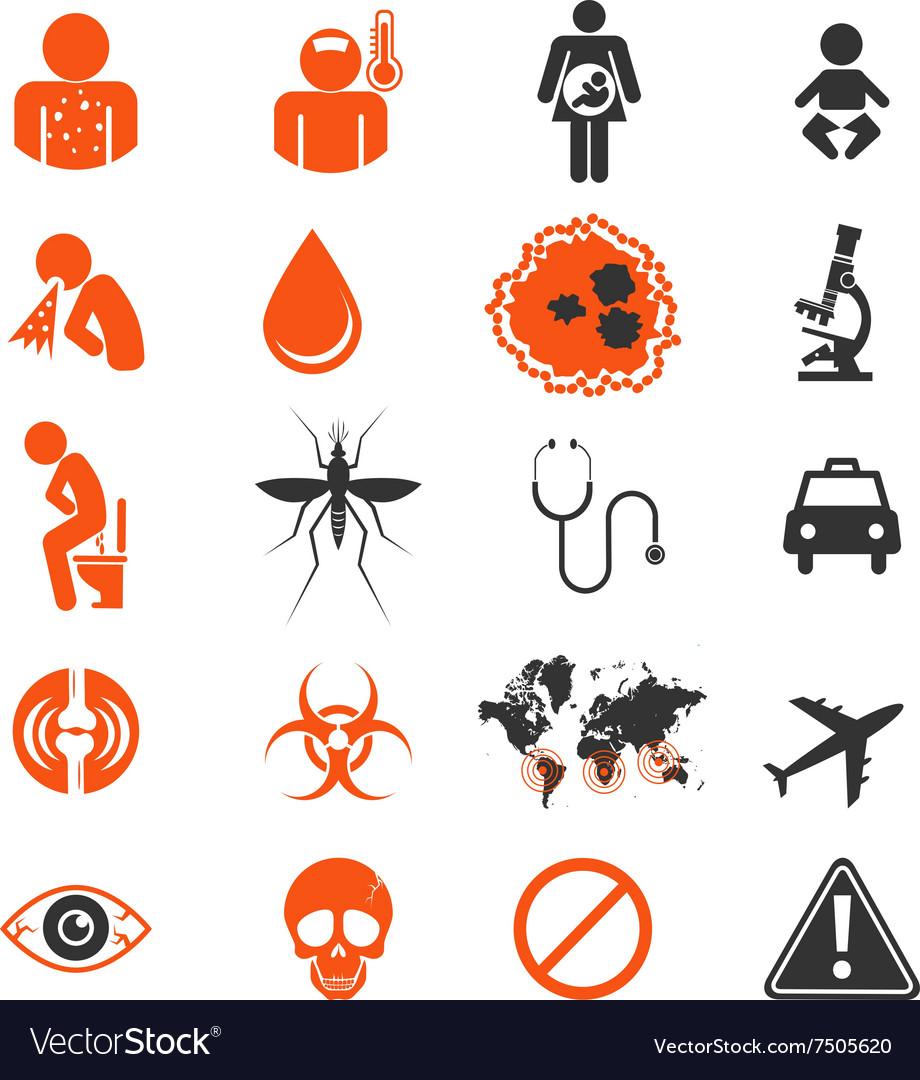 Icon set of zika virus infection