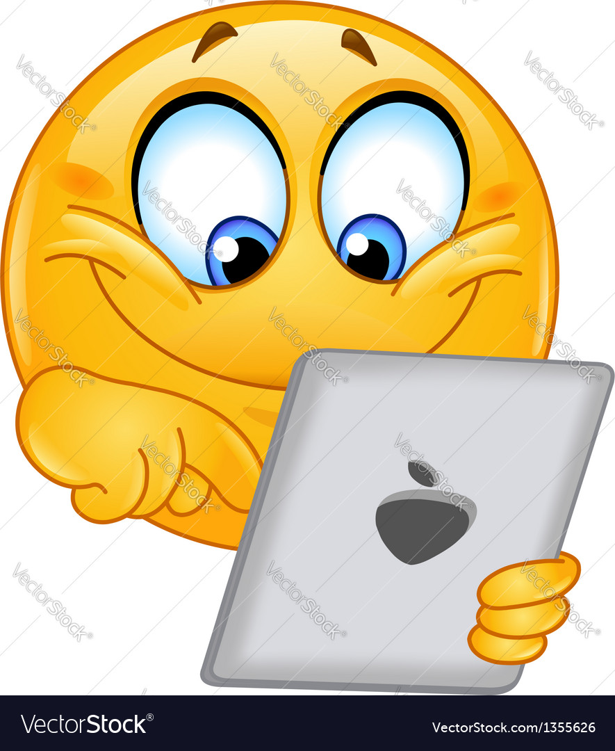 Emoticon with tablet vector