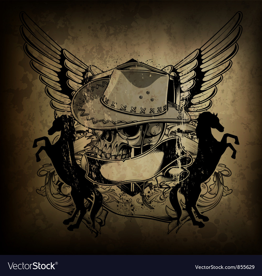 Free skull with wings vector