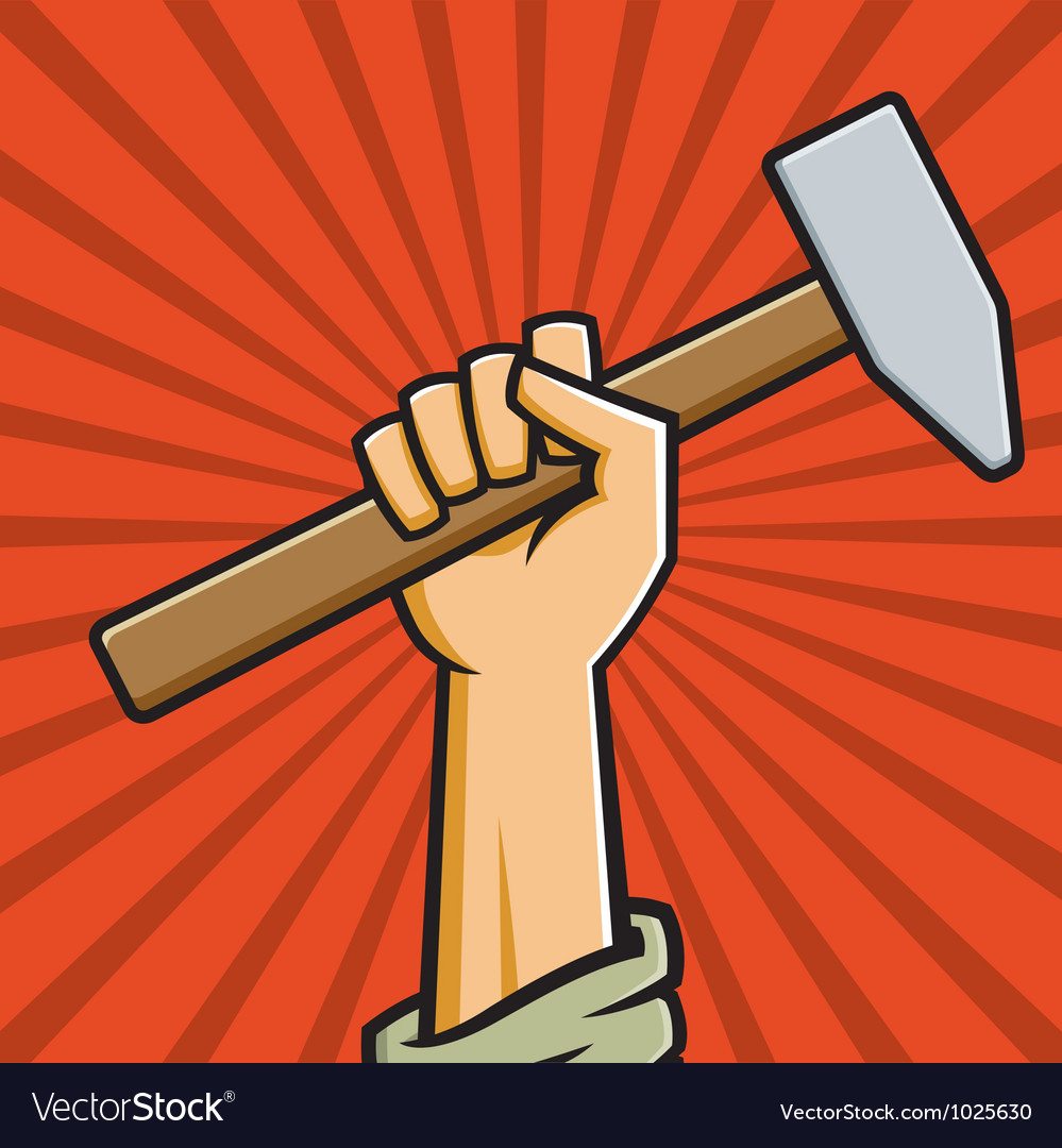 Raised fist holding hammer vector
