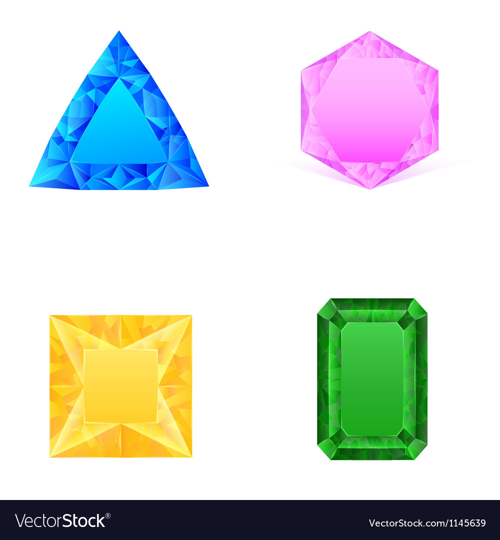 Set of blue pink yellow green jewels vector