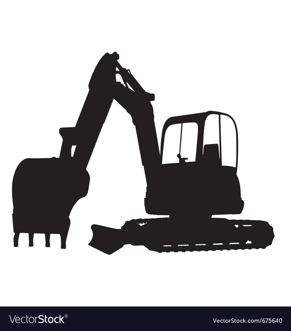 Compact excavator silhouette vector
