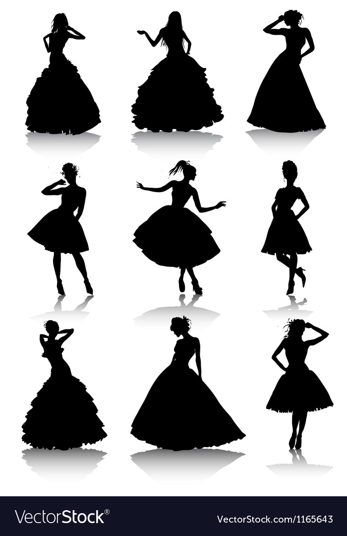 Set of various beautiful model girls in dress vector