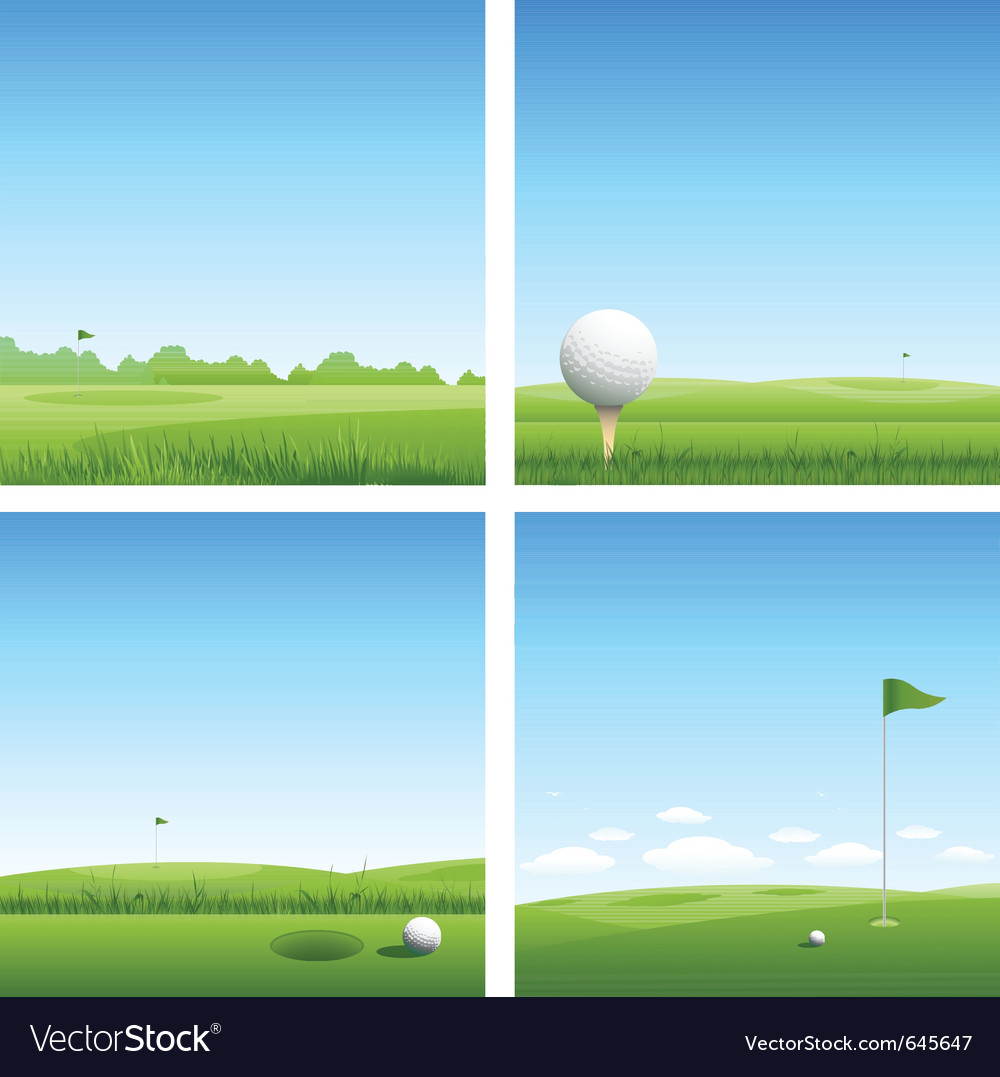 Four golf backgrounds vector