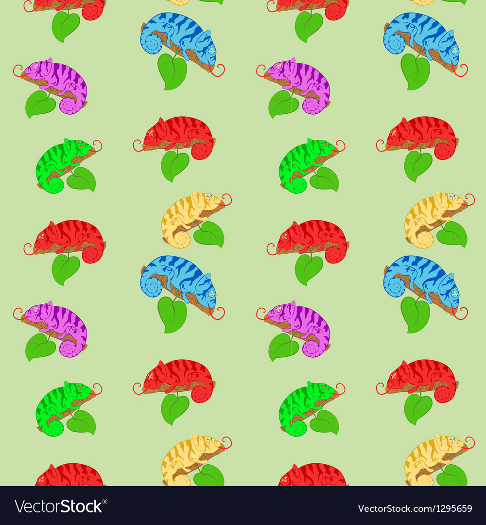 Color chameleons seamless pattern vector