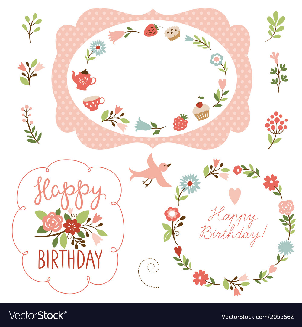Holiday collection cute frames vector